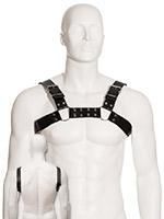 Black Leather Slim Bulldog Male Chest Harness